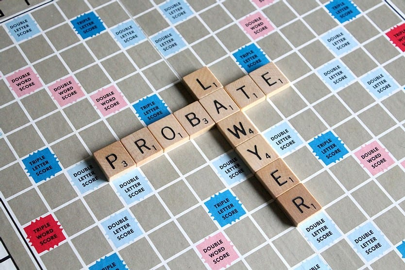 The words Lawyer and Probate on a Scrabble Board