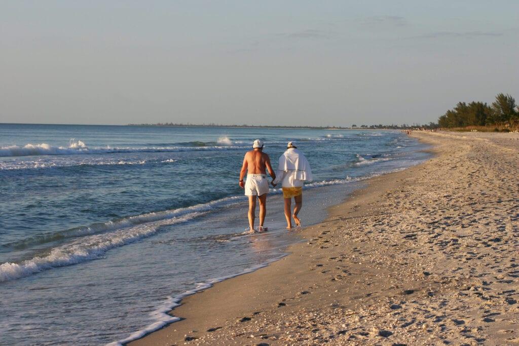 Elderly couple on beach in Florida